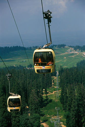 The highest snow lift in the World at Gulmarg, Kashmir.
