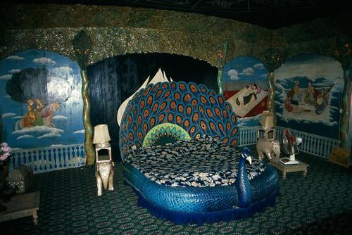 Interior of houseboat on Dal Lake, Srinagar, Kashmir.