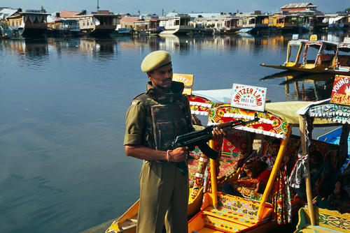 Armed soldier at Srinagar, Kashmir.