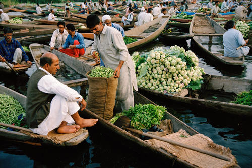 Merchants at the floating vegetable market on Dal Lake, Srinagar, Kashmir.