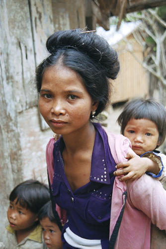 Woman and young child belonging to the Kachah indigenous people near Ban Lung, Ratanakiri Province, Cambodia.