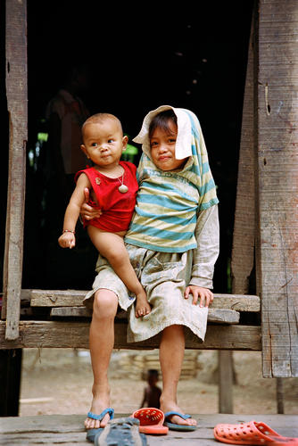 Young children belonging to the Kachah indigenous people near Ban Lung, Ratanakiri Province, Cambodia.