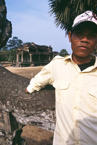 Land mine amputee at the Angkor Wat temple complex, Cambodia.