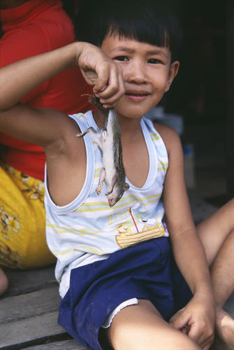 Boy with dead rat in Kratie, Kratie Province, Cambodia.