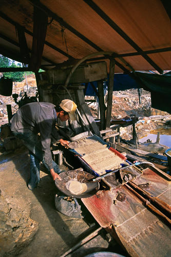 Artesanal gold mining in in Mondulkiri Province, Cambodia.