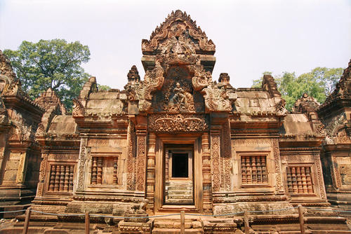 Banteay Srei, a 10th-century Cambodian temple built largely of red sandstone and dedicated to the Hindu god Shiva.