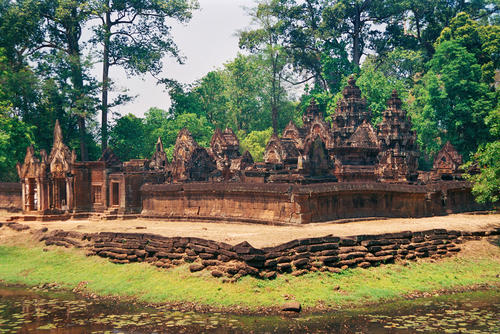 Banteay Srei, a 10th-century Cambodian temple built largely of red sandstone and dedicated to the Hindu god Shiva. CAMBODIA-P