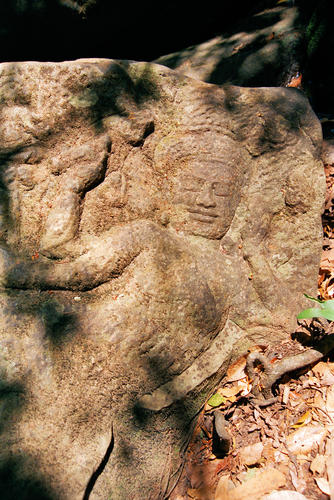 "Kbal Spean an Angkorian era site consisting of a series of stone rock relief carvings in sandstone and is commonly known as the ""Valley of a 1000 Lingas"""