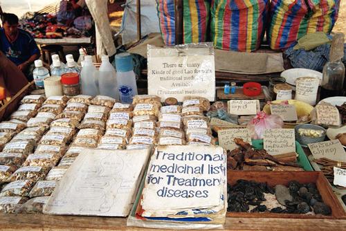 Traditional Lao medicine on sale at Luang Prabang.