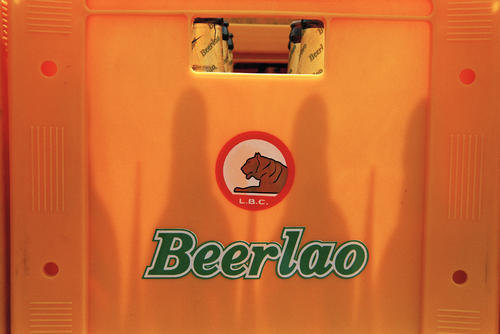 A crate of Beer Lao.