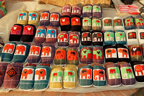 Handmade slippers on sale in the night market, Luang Prabang.