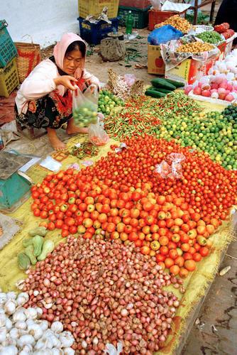 Women at a vegetable stall at the morning market, Luang Prabang.