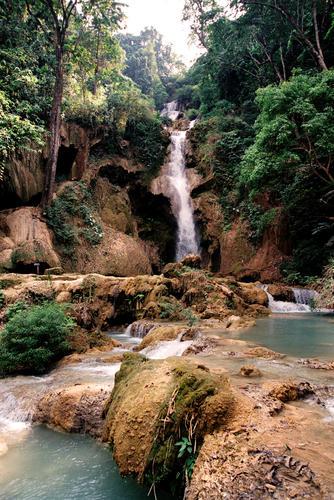 Part of the Kuang Si falls close to Luang Prabang.