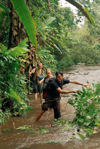 Tourists trekking in the Nam Ha National Protected Area in Luang Namtha Province.