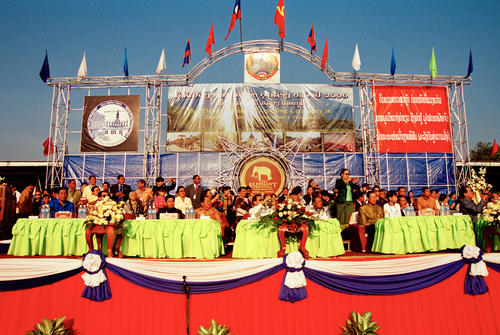 Lao VIP's and politicians on the main judging platform at the annual Elephant Festival held in Sayaboury Province.