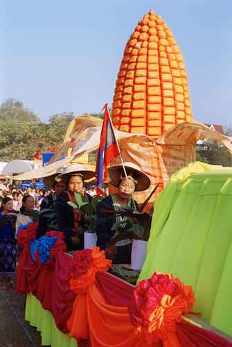 Locals performing in a parade at the annual Elephant Festival held in Sayaboury Province.