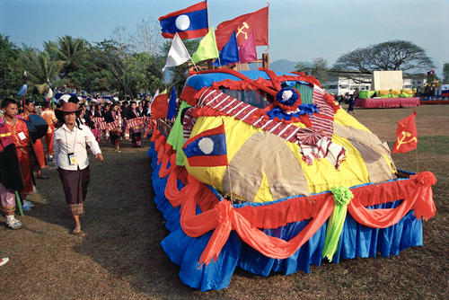 A float in a parade at the annual Elephant Festival held in Sayaboury Province