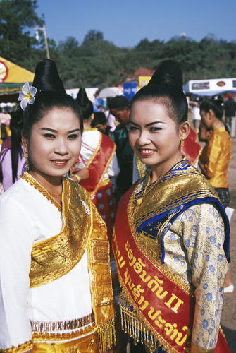 Local girls at the annual Elephant Festival, Sayaboury Province, Laos.