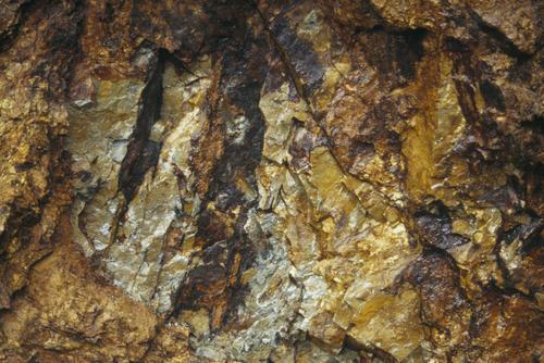 Gold veins in a cave at Nambija, Ecuador.