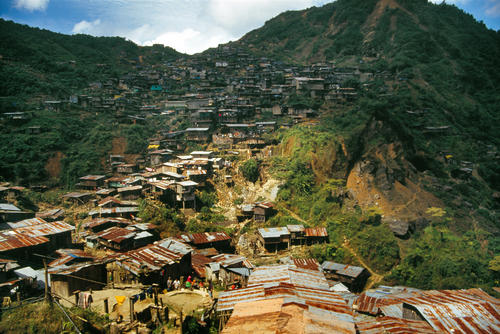 Overview of the gold mining town of Nambija, Ecuador.