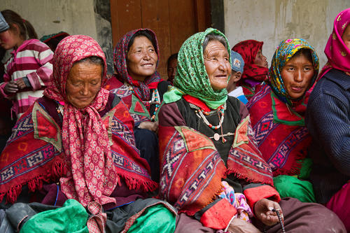 Local ladies at the Korzok Gompa, Ladakh.