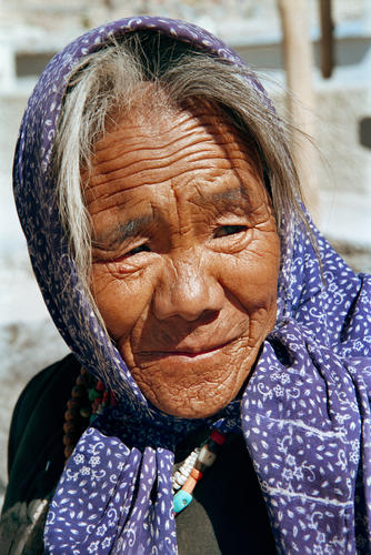 Old lady at the Changspa Tibetan settlement outside Leh, Ladakh.