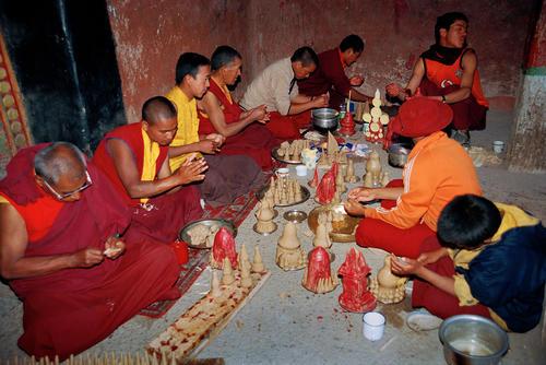 Monks preparing and making deities at the Hemis Gompa, Ladakh.