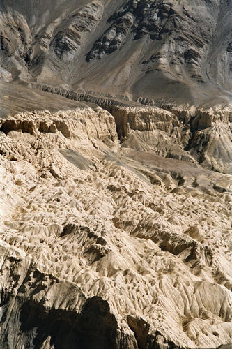 The eerie lunar-like landscapes that feature close to the Lamayuru temple, Ladakh.
