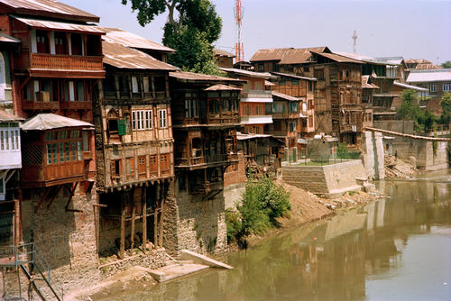Ancient dwellings along the Jellum River, Srinagar, Kashmir.