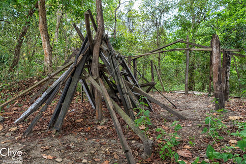 Remains of a guest room at the derelict 'Tiger Tops' camp in the Chitwan National Park