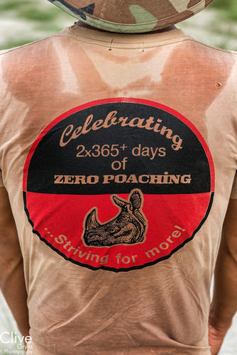 T-shirt advertising two years of zero poaching of rhinoceros in Chitwan National Park
