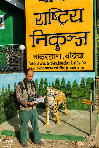 Rajan Choudhary, guide standing beside a tiger statue at the entrance to Bardia National Park