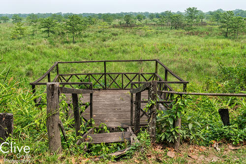 Remains of the derelict 'Tiger Tops' camp in the Chitwan National Park