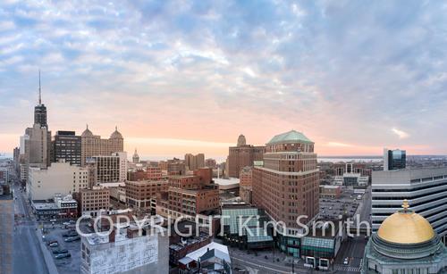 Buffalo NY Skyline Sunset Panoramic
