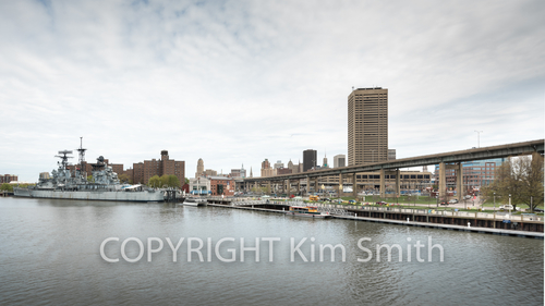 Buffalo NY shoreline, naval park, skyway
