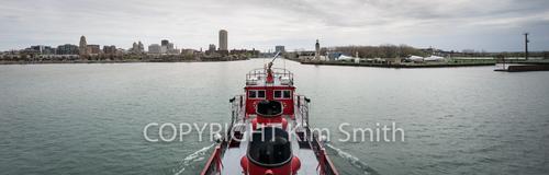 Buffalo NY skyline from fireboat, lake