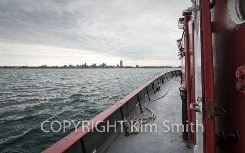 Buffalo NY shoreline, skyline, fireboat Edaward M Cotter