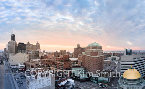 Buffalo NY Skyline Sunset Panoramic