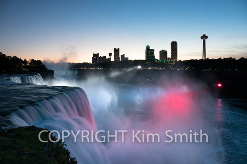 Niagara Falls Blue Red Lights