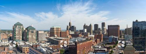 Panoramic skyline city of Buffalo stock photography