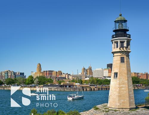 Lighthouse Erie Basin Outer Harbor Buffalo NY skyline