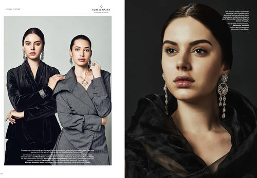 Auraa Models Alina & Valentina featured In Hapar's Bazaar for Forevermark Campaing