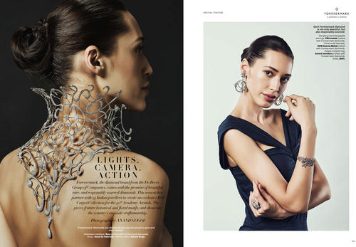 Auraa Model Alina featured in Hapar's Bazaar for  Forevermark Campaing