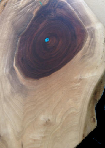 Live Edge Black Walnut Serving Board with Sapwood and Turquoise Inlay