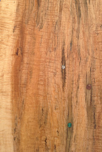 Detail of Curly Tapped Sugar Maple Serving Board with Mother of Pearl, Rhodonite and Malachite Inlay in Tap Holes