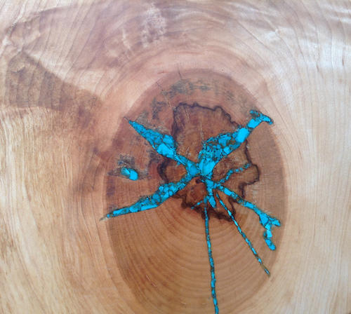 Detail of Live Edge Maple Slab Serving Board with Turquoise Inlay
