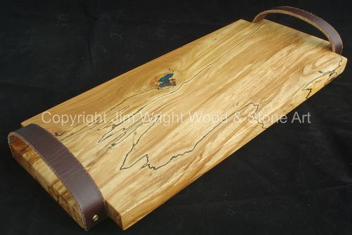 Spalted Beech Serving Tray with Leather Handles and Azurite and Malachite Inlay