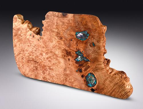 Big Leaf Maple serving board with abalone, tanzanite and Sleeping Beauty turquoise inlay