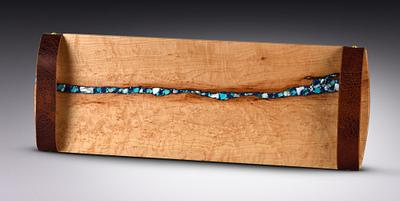 Bird's Eye Maple with Azurite, Sleeping Beauty Turquoise and Mother of Pearl Inlay and Leather Handles