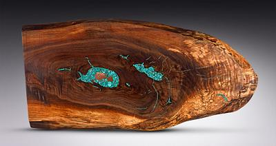 Live Edge Spalted Black Walnut with Copper and Turquoise